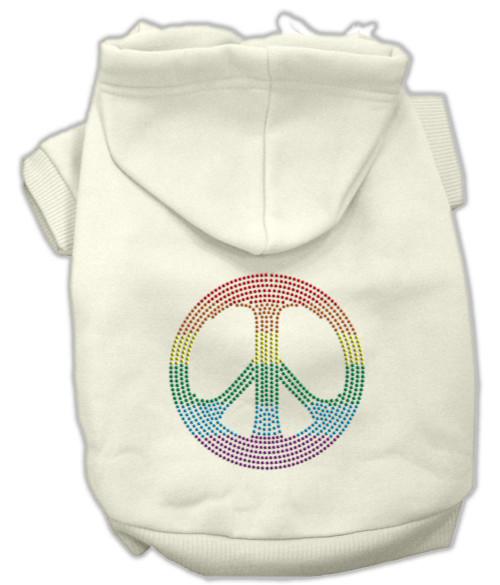 Rhinestone Rainbow Peace Sign Hoodies Cream Xl (16)