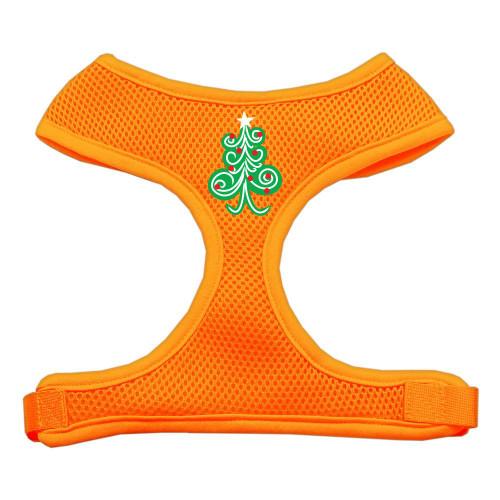 Swirly Christmas Tree Screen Print Soft Mesh Harness Orange Large