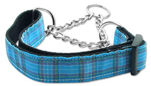Plaid Nylon Collar  Martingale Blue Large - 125-013M LGBL