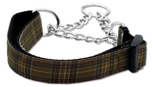 Plaid Nylon Collar  Martingale Brown Large - 125-013M LGBR