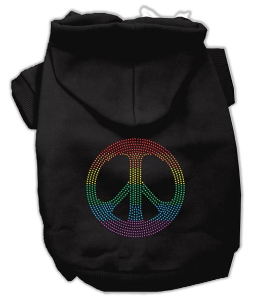 Rhinestone Rainbow Peace Sign Hoodies Black Xl (16)