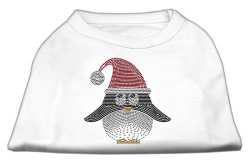Santa Penguin Rhinestone Dog Shirt White Xl (16)