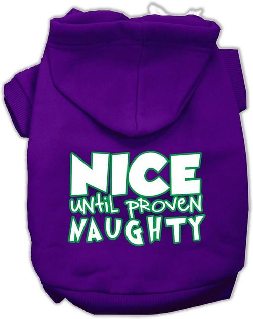 Nice Until Proven Naughty Screen Print Pet Hoodie Purple Xl (16)