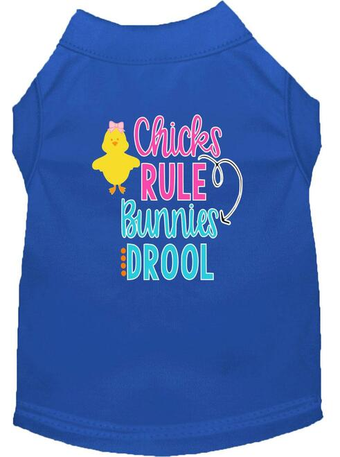 Chicks Rule Screen Print Dog Shirt Blue Xxl (18)