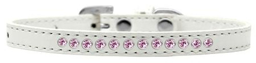 Light Pink Crystal Size 14 White Puppy Collar