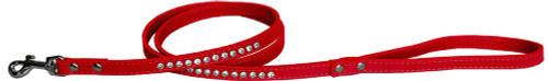 "Clear Jewel Pet Leash 1/2"" Wide X 4' Long Red"