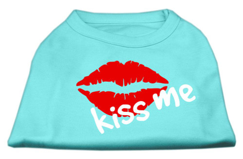 Kiss Me Screen Print Shirt Aqua Med (12) - 51-56 MDAQ