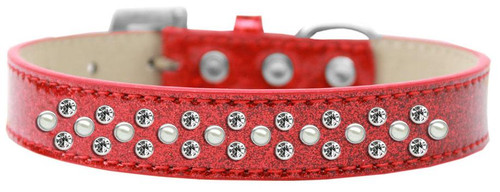 Sprinkles Ice Cream Dog Collar Pearl And Clear Crystals Size 16 Red
