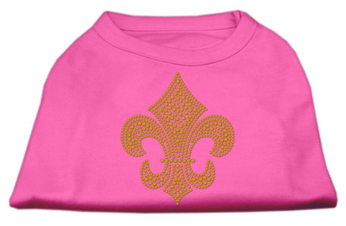 Gold Fleur De Lis Rhinestone Shirts Bright Pink L (14)