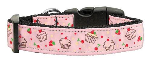 Cupcakes Nylon Ribbon Collar Light Pink Large