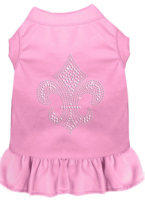 Silver Fleur De Lis Rhinestone Dress Light Pink 4x (22)