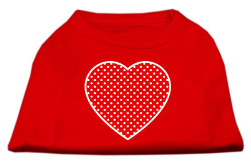 Red Swiss Dot Heart Screen Print Shirt Red Xl (16)
