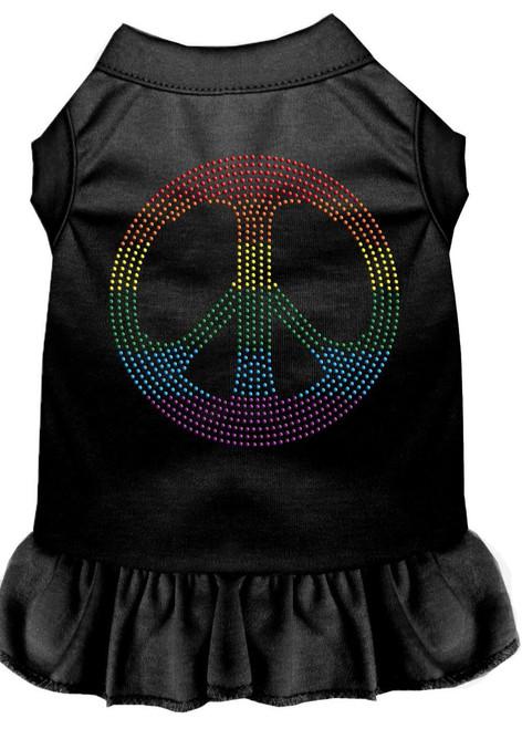 Rhinestone Rainbow Peace Dress Black 4x (22)