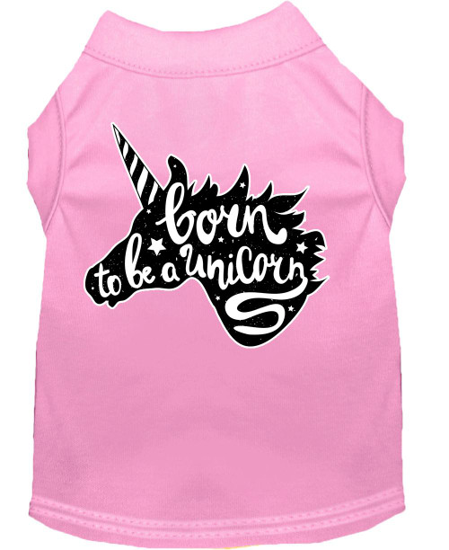 Born To Be A Unicorn Screen Print Dog Shirt Light Pink Sm (10)