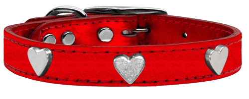 Silver Heart Widget Genuine Metallic Leather Dog Collar Red 16