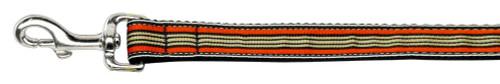 Preppy Stripes Nylon Ribbon Collars Orange/khaki 1 Wide 6ft Leash