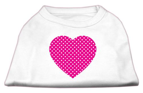 Pink Swiss Dot Heart Screen Print Shirt White Xxl (18)