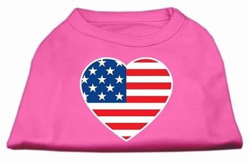 American Flag Heart Screen Print Shirt Bright Pink Sm (10)