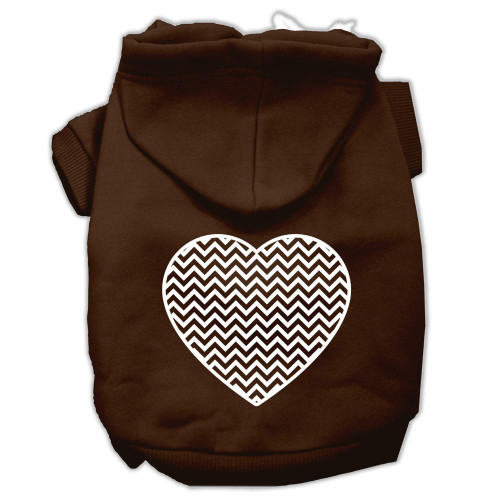 Chevron Heart Screen Print Dog Pet Hoodies Brown Size Xxxl (20)