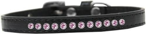 Light Pink Crystal Size 14 Black Puppy Collar