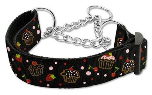 Cupcakes Nylon Ribbon Collar Martingale Medium Black - 125-019M MDBK