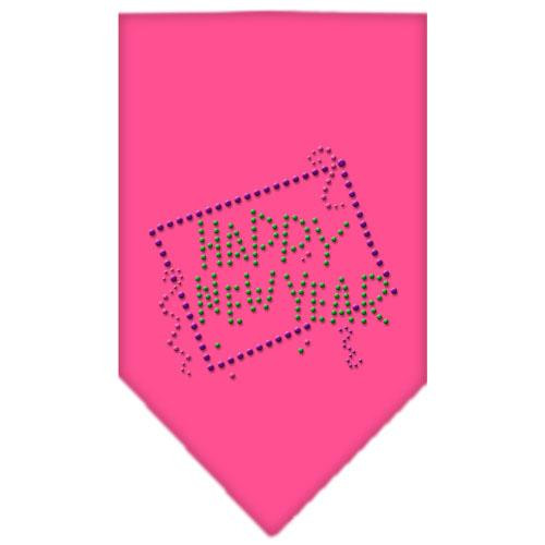 Happy New Year Rhinestone Bandana Bright Pink Large