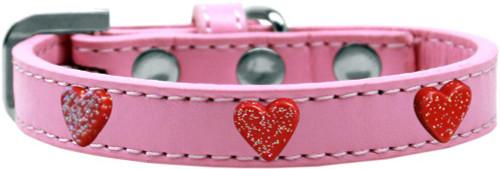 Red Glitter Heart Widget Dog Collar Light Pink Size 12