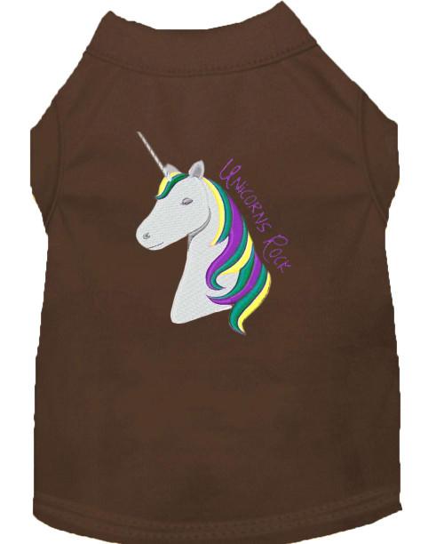 Unicorns Rock Embroidered Dog Shirt Brown Xxxl (20)