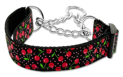 Cherries Nylon Collar Martingale Black  Medium