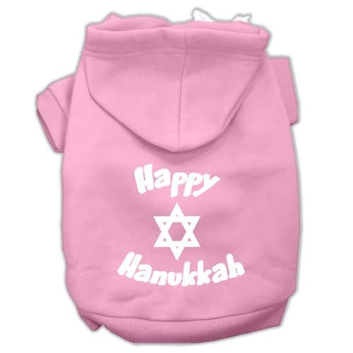 Happy Hanukkah Screen Print Pet Hoodies Light Pink Size Med (12)
