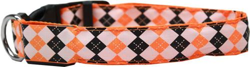 Led Dog Collar Argyle Orange Size Medium