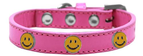 Happy Face Widget Dog Collar Bright Pink Size 12