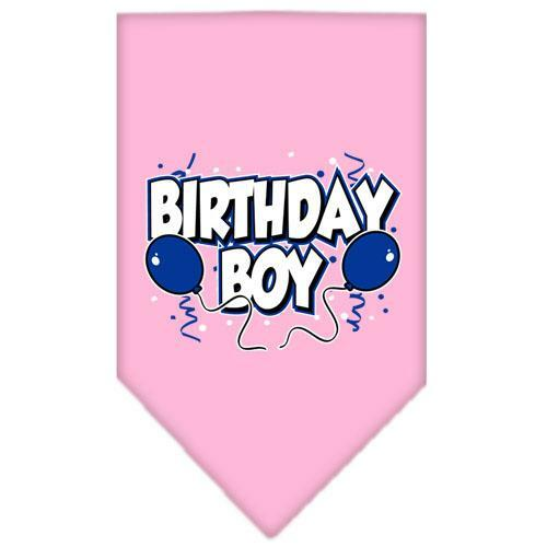 Birthday Boy Screen Print Bandana Light Pink Large