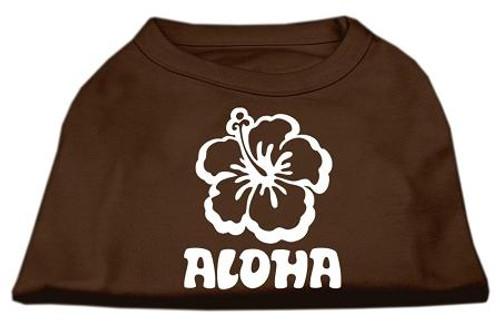 Aloha Flower Screen Print Shirt Brown Med (12)