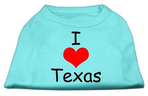 I Love Texas Screen Print Shirts Aqua Xl (16) - 51-38 XLAQ