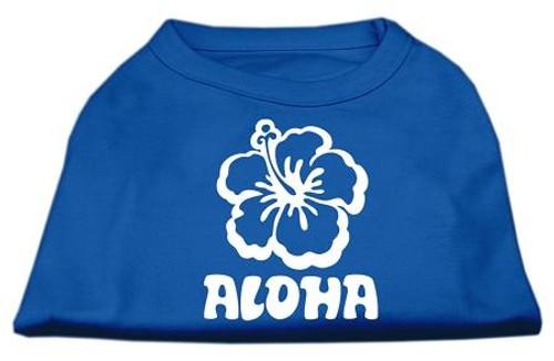 Aloha Flower Screen Print Shirt Blue Med (12)
