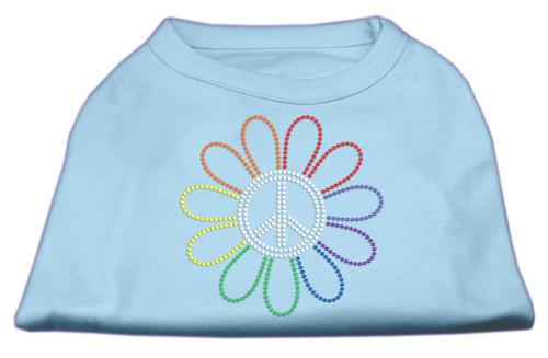 Rhinestone Rainbow Flower Peace Sign Shirts Baby Blue M (12)