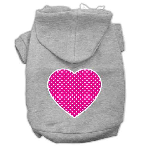 Pink Swiss Dot Heart Screen Print Pet Hoodies Grey Size Xl (16)