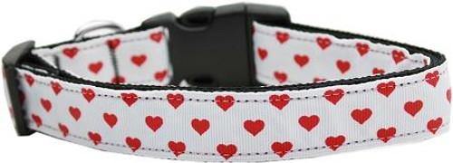 White And Red Dotty Hearts Nylon Dog Collars Medium