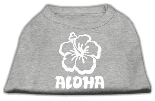Aloha Flower Screen Print Shirt Grey Med (12)