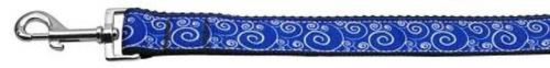Blue And White Swirly Nylon Ribbon Dog Collars 1 Wide 4ft Leash