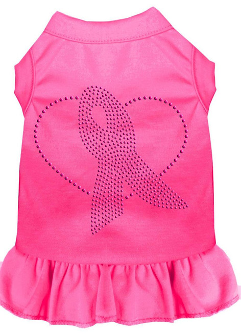 Pink Ribbon Rhinestone Dress Bright Pink Lg (14)