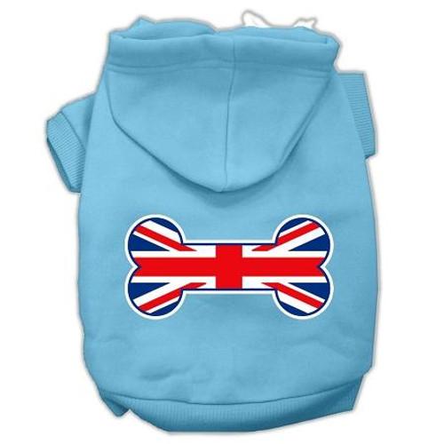 Bone Shaped United Kingdom (union Jack) Flag Screen Print Pet Hoodies Baby Blue Size Med (12)