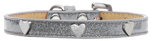 Silver Heart Widget Dog Collar Silver Ice Cream Size 14
