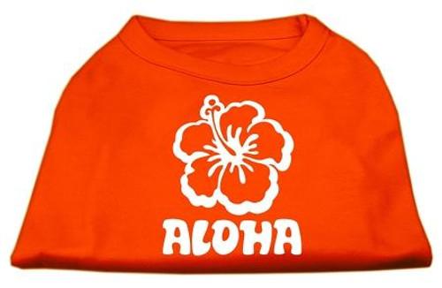 Aloha Flower Screen Print Shirt Orange Med (12)