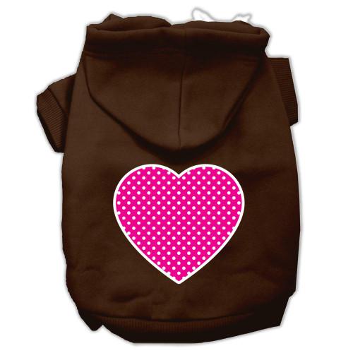 Pink Swiss Dot Heart Screen Print Pet Hoodies Brown Size Xl (16)