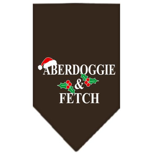 Aberdoggie Christmas Screen Print Bandana Cocoa Large