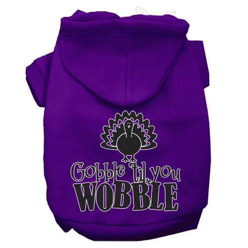 Gobble Til You Wobble Screen Print Dog Hoodie Purple Xxl
