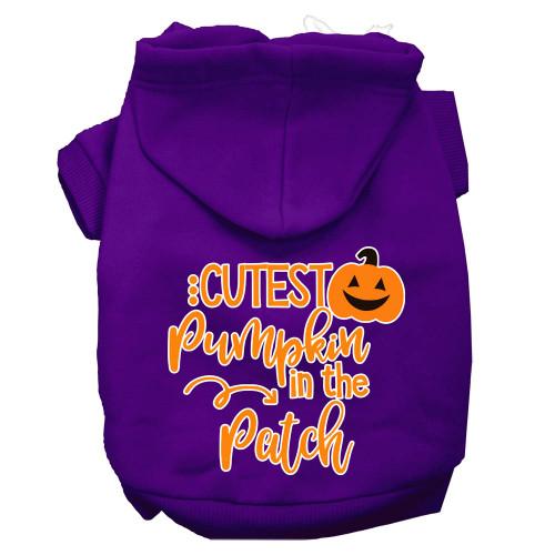 Cutest Pumpkin In The Patch Screen Print Dog Hoodie Purple Xxl