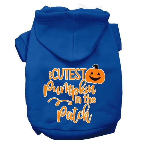 Cutest Pumpkin In The Patch Screen Print Dog Hoodie Blue Xxl
